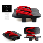 Men Black Two Teeth Geta Wooden Sandals 【Classic Red】