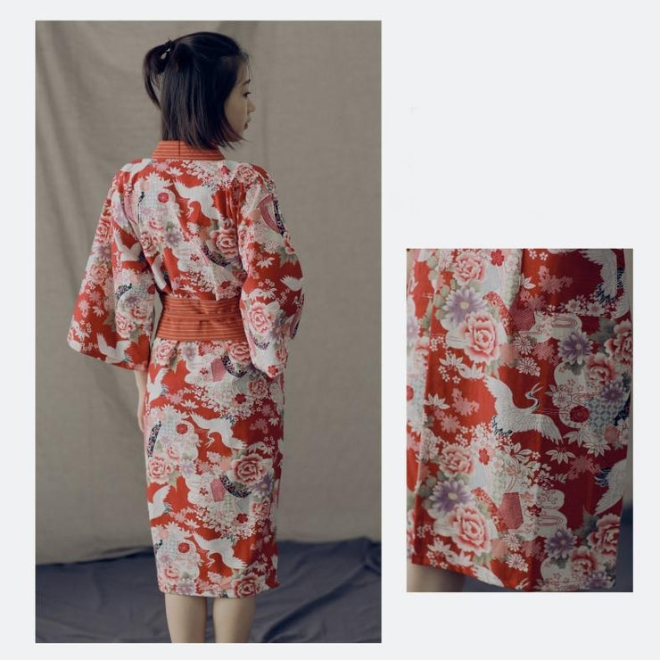 Red Crane Floral Pattern Obi Belt Women Yukata Nightwear