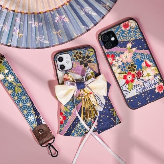 Two sakura pattern bow attached phone cases Blue Color | Foxtume