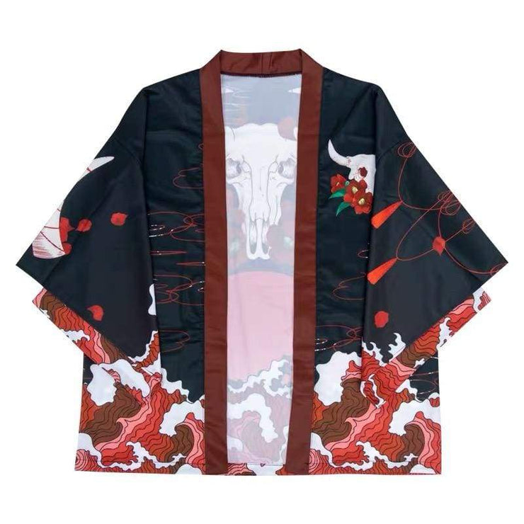 Haori | Bull Head Skull And Red Wave Kimono Cardigan | Foxtume