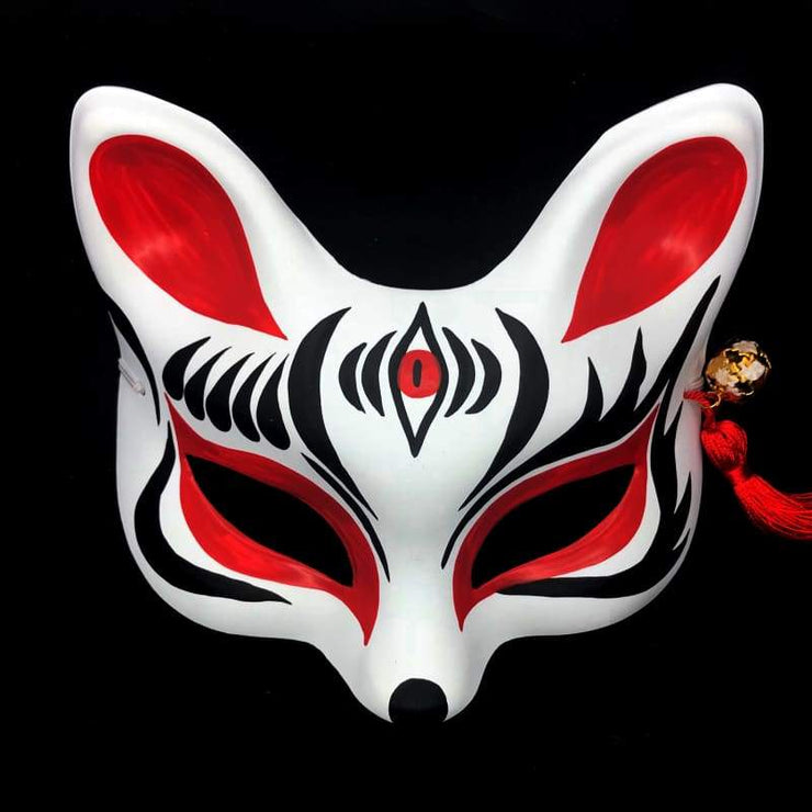 Kitsune Mask | Eye Level Japanese Fox - The Third In Red | Foxtume