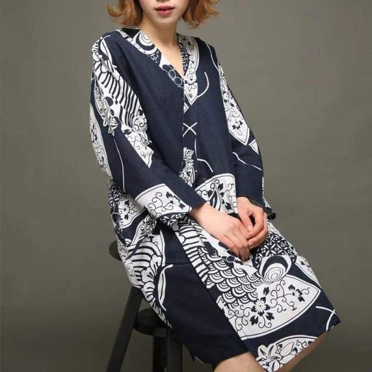 Yukata | Fish Scale Pattern Women Nightgown | Foxtume