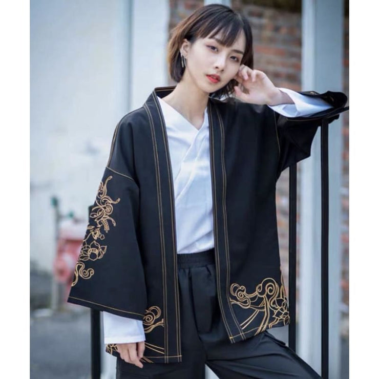 Haori | Fox Spirit Embroidery Denim Kimono Cardigan | Foxtume