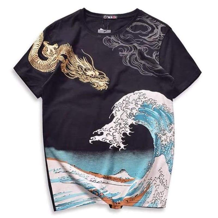 T-Shirt | Golden Dragon & The Great Wave Embroidered | Foxtume