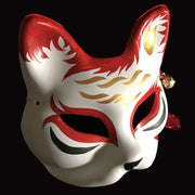 | Half Face Kitsune Mask - Floating Clouds | Foxtume