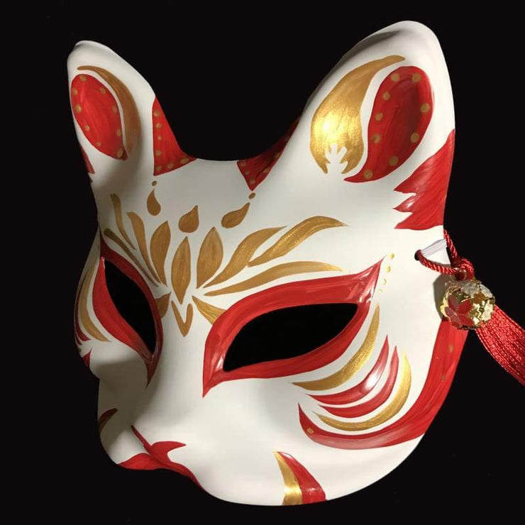 | Half Face Kitsune Mask - Golden Lotus | Foxtume