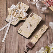 Phone Case | Handmade Beige Crane Japanese Fabric Couples (Pre-Order) | Foxtume