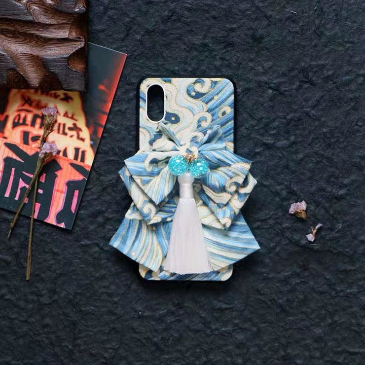 Blue bow Great Wave Japanese Phone Case