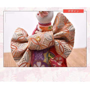 | Handmade Japanese Kimono Rabbit Music Box - Deluxe Bow Red | Foxtume