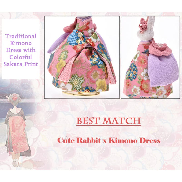 Music Box | Handmade Japanese Kimono Rabbit - Simple Pink Sakura | Foxtume