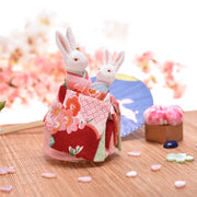 | Handmade Kimono Mother & Son Rabbit Music Box | Foxtume