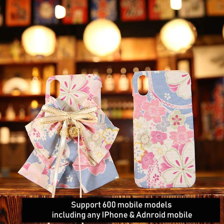 Phone Case | Handmade Pink Floral Japanese Fabric (Pre-Order) | Foxtume