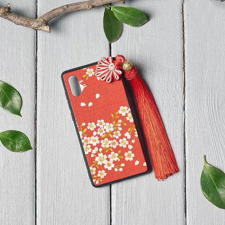 Phone Case - Handmade Sakura Japanese Fabric (Make To Order) - Foxtume