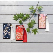 Red, blue and pink fabric Phone Case - Handmade Sakura Japanese Fabric (Make To Order) - Foxtume