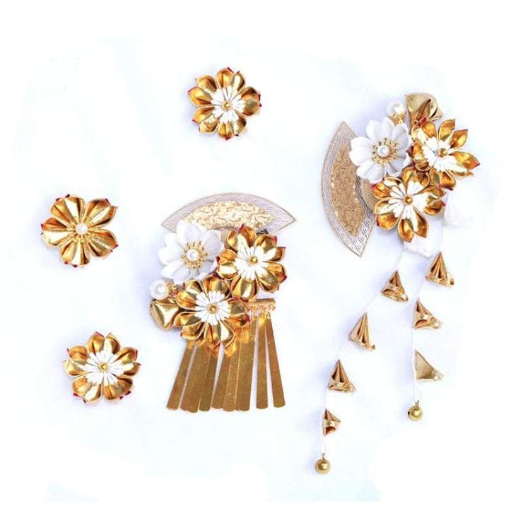 Accessory | Handmade Japanese Traditional Tsumami Kanzashi Hair Clip Set [Golden Sakura] | Foxtume