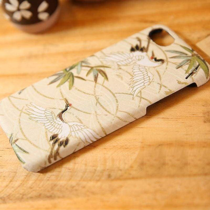 Phone Case | Handmade White Crane Japanese Fabric Couples (Pre-Order) | Foxtume