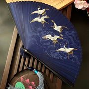 Japanese Folding Fan 【Cranes and Japanese Wave】