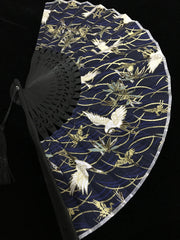 Hand Fan | Japanese Folding - White Cranes | Foxtume