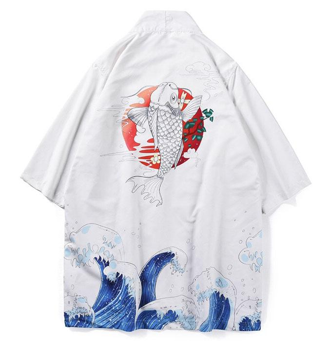 Haori | Jumping Koi & The Ocean Printed Men Kimono Jacket | Foxtume