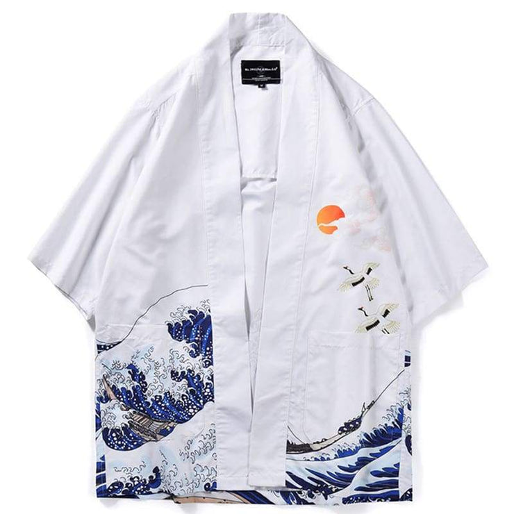 Haori | Jumping Koi & The Waves Printed Sukajan Kimono Jacket | Foxtume
