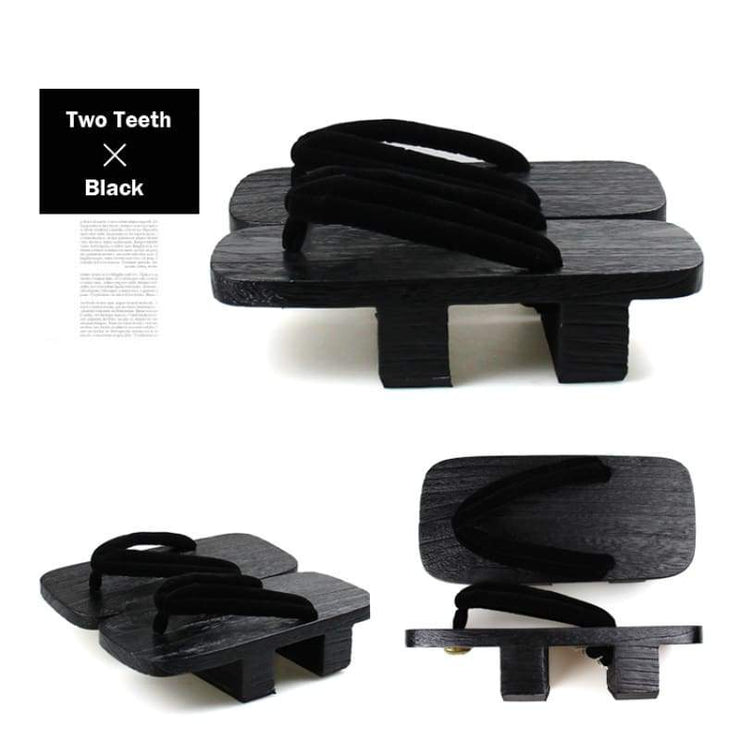 Men Black Japanese Wooden Sandals Black Strap | Foxtume