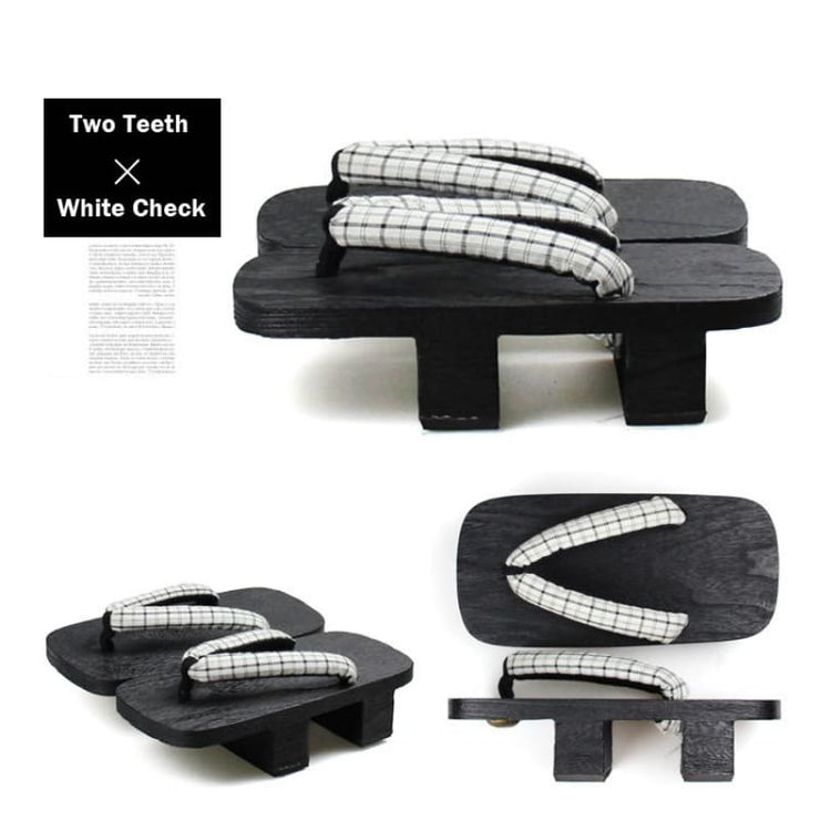 Geta - Men Two Teeth Wooden Sandals [White Check] - Foxtume