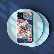 Blue Sakura pattern phone case | Foxtume