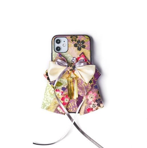 Purple Sakura pattern bow attached phone cases | Foxtume