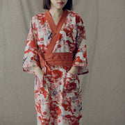 Yukata | Red Crane Floral Pattern Obi Belt Women Nightwear | Foxtume
