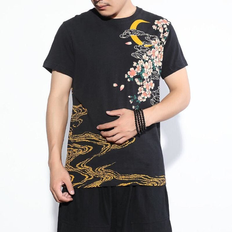 T-Shirt | Sakura Jumping Koi & Golden Wave Embroidered | Foxtume