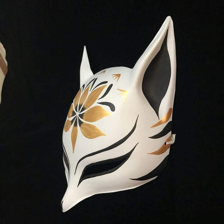 Kitsune Mask | Sharp Ears - Golden Lotus | Foxtume