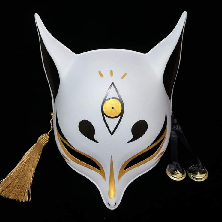 Kitsune Mask | Sharp Ears - Golden Third Eye | Foxtume