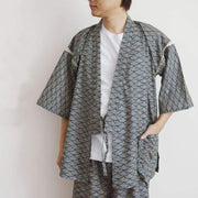 Jinbei | Traditional Japanese Seigaiha Ocean Wave Pattern Night Wear | Foxtume