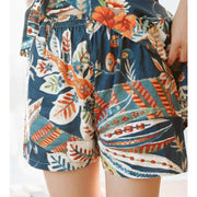 Yukata | Tropical Leaves Print Homewear Jinbei | Foxtume