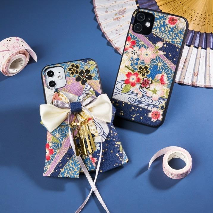 Two sakura pattern blue phone cases | Foxtume