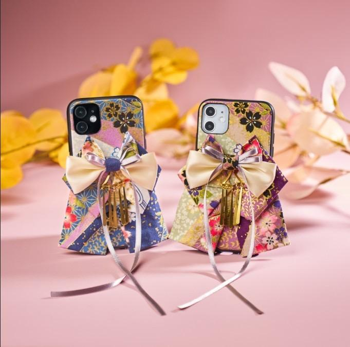 Two sakura pattern bow attached phone cases | Foxtume