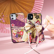 Two sakura pattern bow attached phone cases purple color | Foxtume