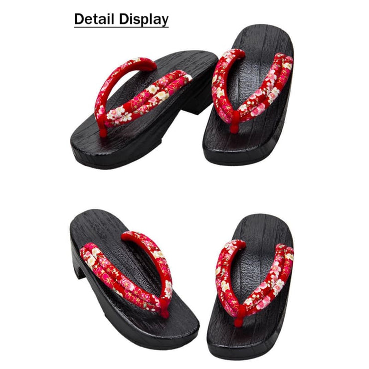 Geta | Women High Heel Wooden Sandals [Red Base Sakura Pattern] | Foxtume