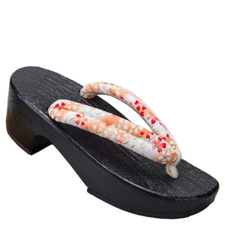 | Women High Heel Geta Wooden Sandals [White Base Sakura Pattern] | Foxtume