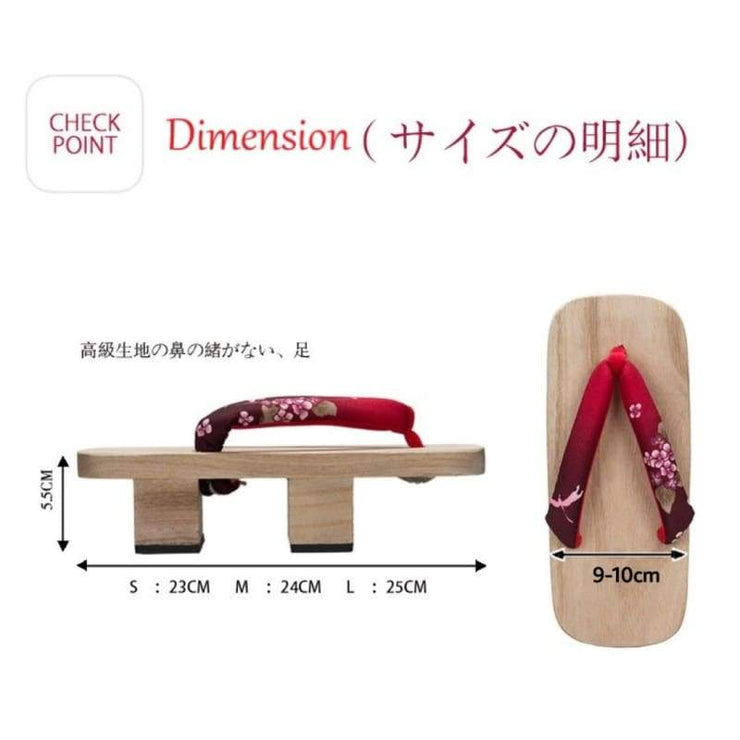 Geta | Women Two Teeth Wooden Sandals [Cherry Blossom] | Foxtume