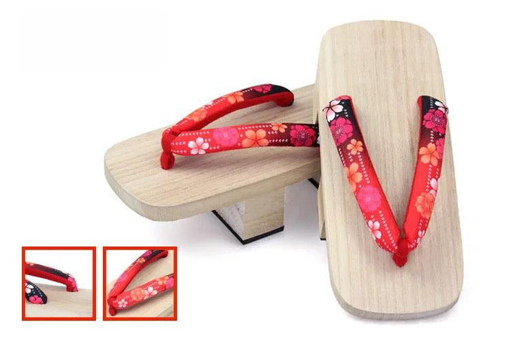 Geta | Women Two Teeth Wooden Sandals [Gradient Red Flower] | Foxtume