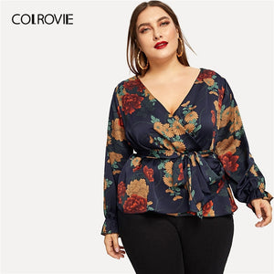35bc4147150 COLROVIE Plus Size Floral Print Self-Tie Waist Blouse Shirt Women Clothing  2019 Spring Fashion