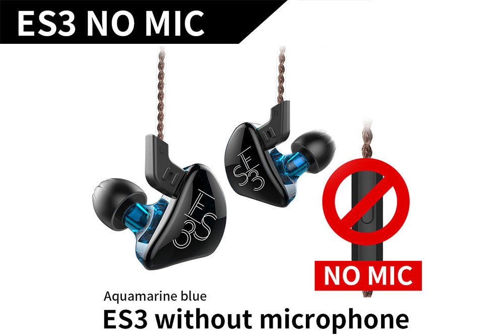 KZ ES3 1DD+1BA Earphones In Ear Monitors HIFI Stereo Sport Noise Cancelling Earphone