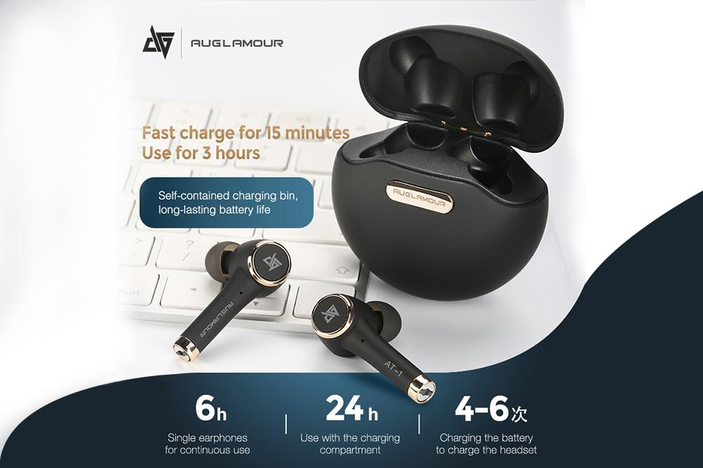 AUGLAMOUR AT-1 Bluetooth 5.0 Wireless Earphone IPX5 Waterproof Sports AT1 HiFi In-ear Earphones