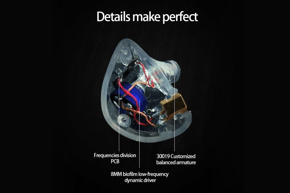 BGVP DN1S Hybrid Earphone Dynamic Armature Controller Balanced IEMs With MMCX Detachable Cable