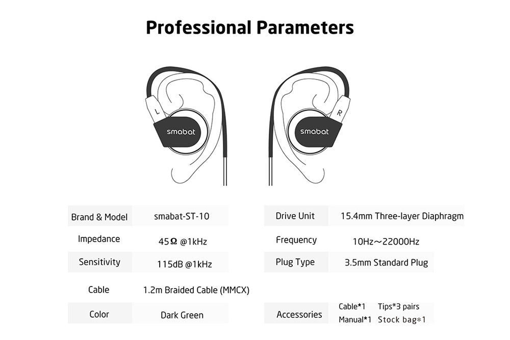 Smabat ST-10 Flat Earphone 15.4mm Dynamic Heavy Bass ST10 HIFI Earphone With Detachable MMCX Cable