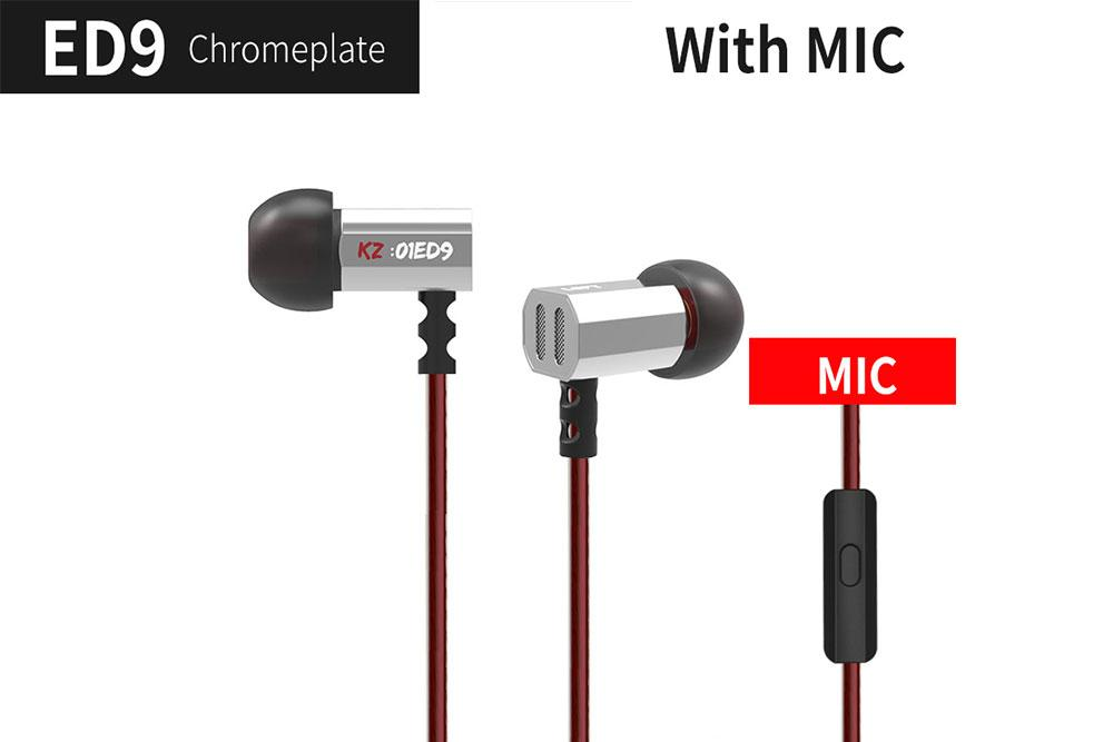 KZ ED9 Dynamic Monitors HiFi Earbuds With Microphone Transparent Sound Earphone