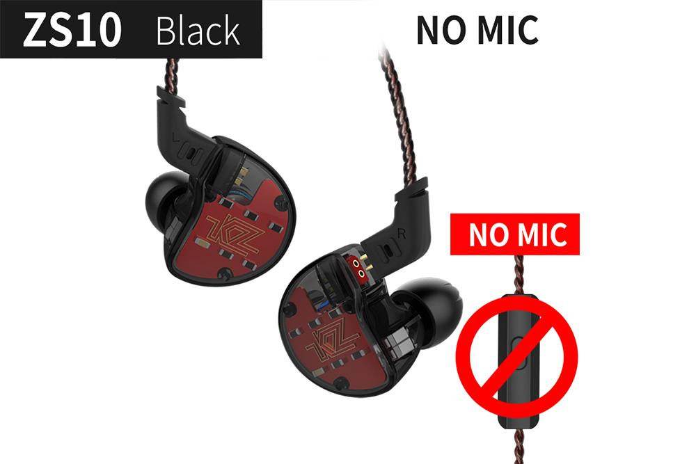 KZ ZS10 4BA+1DD Dynamic Armature Earbuds HiFi Bass Headset Noise Cancelling In Ear Monitors Earphone