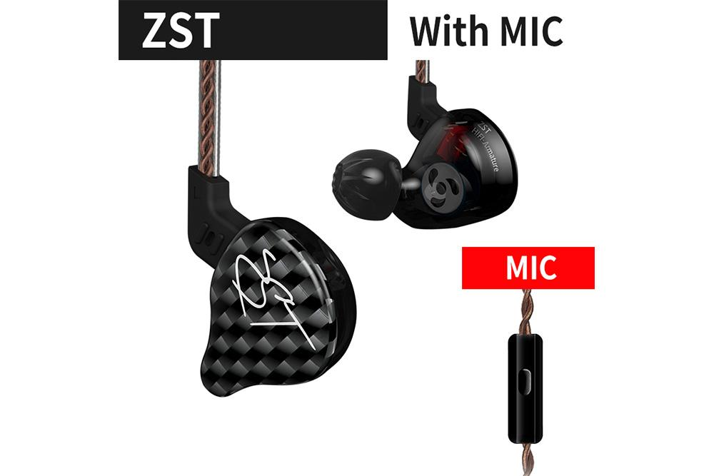KZ ZST 1DD+1BA Hybrid technology In Ear Earphone HIFI Sport Monitors Earphones