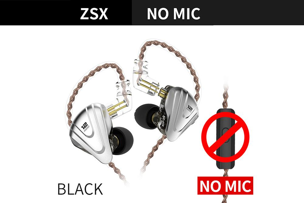 KZ ZSX Terminator Metal Headset 5BA+1DD Hybrid 12 Units HIFI Bass Earbuds Monitor Noise Cancelling In Ear Earphones